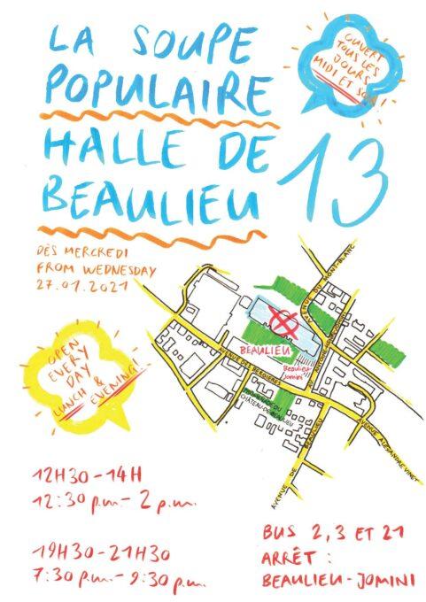 Flyer Soupe Beaulieu bleu, jaune et escaliers date (2)